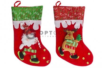 Рождественский носок для подарков 40 см   оптом