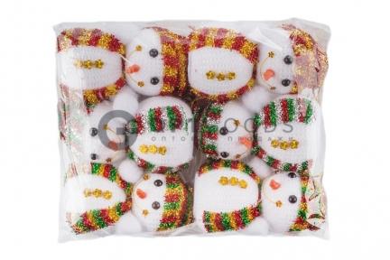 Новогоднее украшение на ёлку Снеговики вязаные  оптом