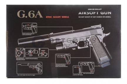 Модель пистолета G.6A Colt 1911 PD с глушителем и ЛЦУ (Galaxy)  оптом