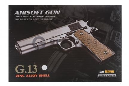 Модель пистолета G.13S Colt 1911 Classic silver (Galaxy)  оптом
