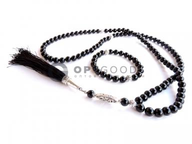 Чётки 99 бусин и браслет из чёрного агата (комплект )   оптом