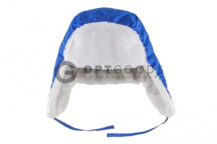 Шапка-ушанка синяя  оптом