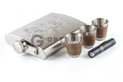 Набор фляга Guotai Hip flask 18oz с 3 рюмками и зажигалкой   оптом