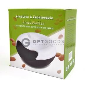 Двойная тарелка-миска для семечек, фисташек, орехов с отсеком для шелухи и косточек и подставкой для телефона  оптом